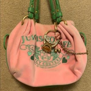 Pink and green velour juicy couture bag
